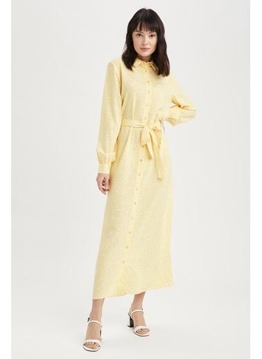 DeFacto Kuşak Detaylı Gömlek Yaka Elbise Sarı